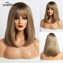 oneNonly Medium Length Straight Ombre Brown Blonde Synthetic Wigs with Bangs for Women Cosplay Natural Hair Wig Heat Resistant