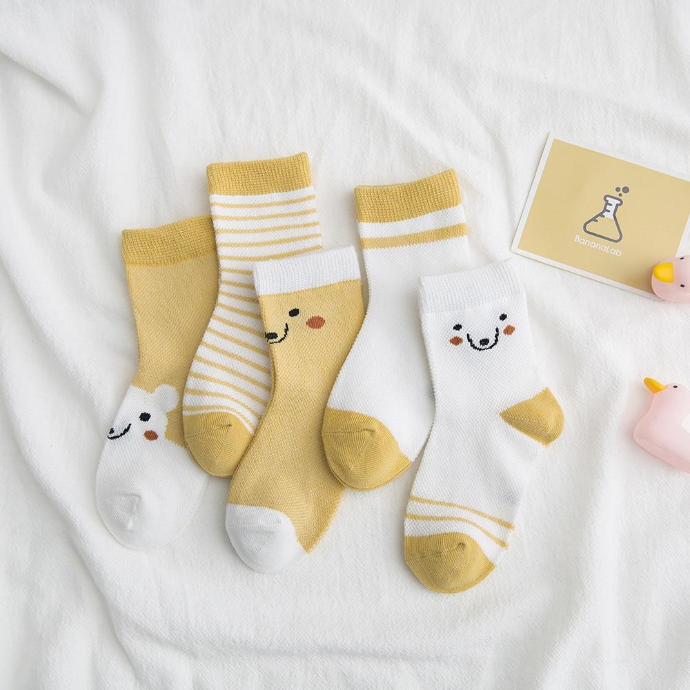 5Pairs/lot 2-9Y Baby Socks Summer Cotton Color Aminal Bear Kids Socks Colorful Girls Mesh Cute Newborn Boys Toddler Socks Baby 3