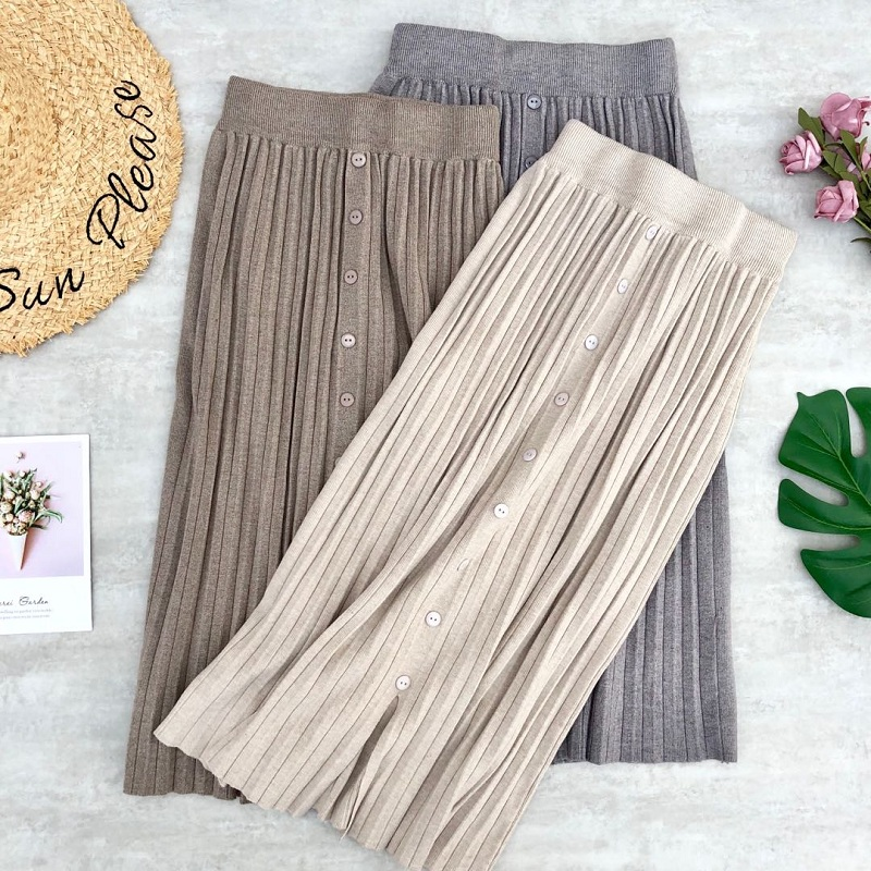 Women's Skirt Winter Wool Knitted Pleated Skirts Buttons Stretched Long Skirts Split Midi Skirts Womens Jupe Femme