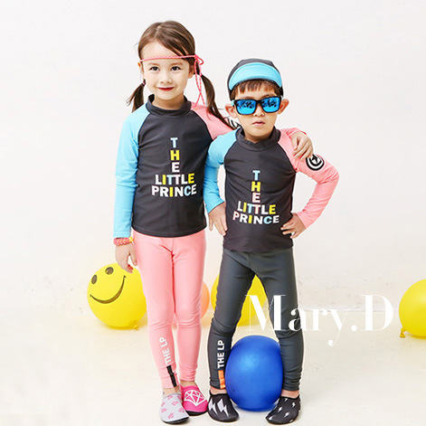 Children Sun-resistant Two-piece Swimsuits Korean-style GIRL'S And BOY'S Middle And Large Small CHILDREN'S Baby Long Sleeve Pant