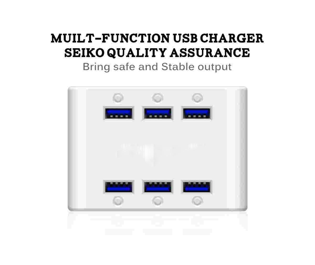 Chargeur intelligent à 6 ports usb, prise ue, 4,8a