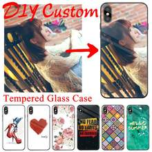For Huawei Honor 6X Tempered Glass DIY Case Cover Back Bumper For Huawei Honor6X Mobile Phone Bags Cases Shells Funda Coque Capa(China)