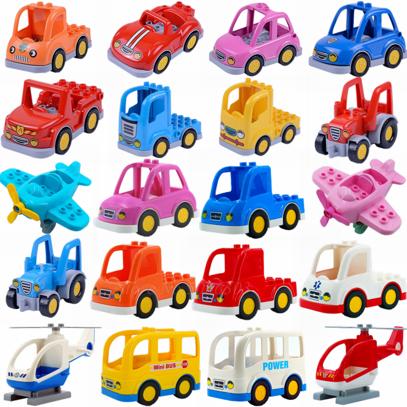 Legoing Duplo Blocks City Cartoon Car Farmer Truck Airplane Bus Technic Model Building Blocks Duplos Figures Educational Toys