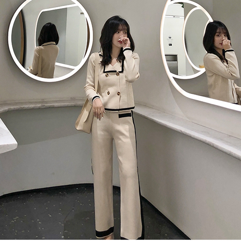 Women Aautumn Knitted Turn Down Collar Short Sleeve Double-breasted Cardigan Tops + Wide Leg Pants 2 Pieces Clothing Set Suits