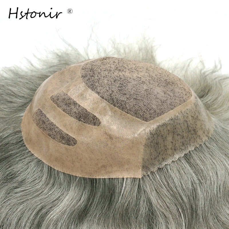 Hstonir Mono Base Wig Lace Hairpiece Man Toupee Indian Remy Hair Pelucas Pelo Natural Humano Postiche Cheveux Humain H033