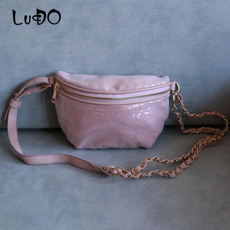 LUCDO Fashion Shine Women Waist Bag Fashion Chains Ladies Waist Bag Small Crossbody Messenger Bags Handbags Bolsa Feminina Sac