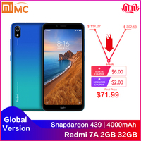 Global Version Xiaomi Redmi 7A 2GB 32GB Smartphone 5.45 HD Snapdargon 439 Octa Core 4000mAh Battery Long Standby Mobile Phone