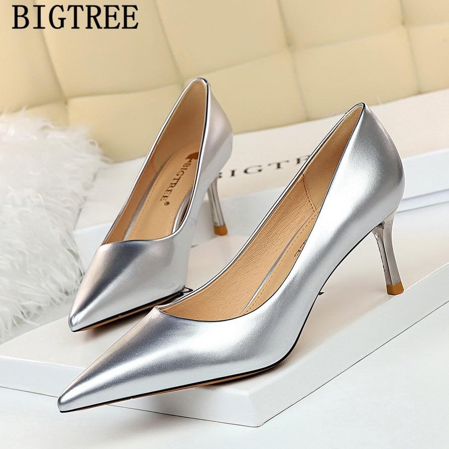 Silver Heels Women Dress Shoes