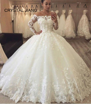New Arrival 2020 Long Sleeves Wedding Dress Lace Applique Bride Gown Custom Made Ball Gown Princess Wedding Dress Leather Bag