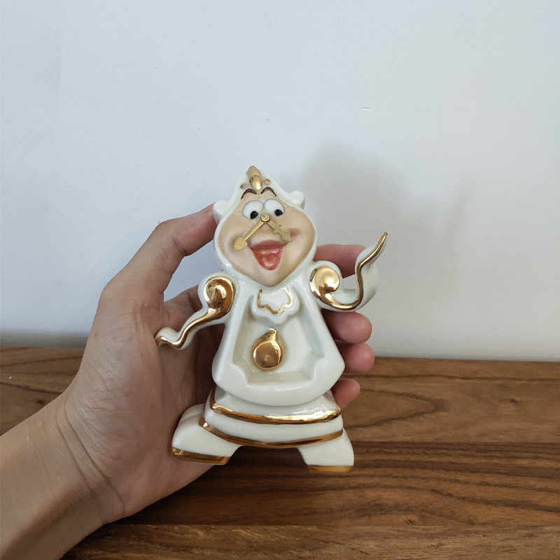 Cartoon Schoonheid En Het Beest Theepot Mok Mrs Potts Chip Thee Pot Cup Set Cogsworth Klok Porselein Gift 18K vergulde Geschilderd