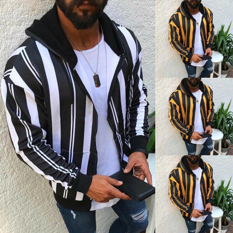 Men's Slim Fit Hooded Coat Tops Stripe Jacket Winter Warm Outwear Blazer Top Autumn Spring Long Sleeve Jackets M-XXXL