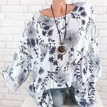 Xs-4Xl Plus Size 2019 New Floral Print Tops Women Vintage Long Sleeve Cotton Linen T Shirts Batwing Sleeve Large Size T-Shirt
