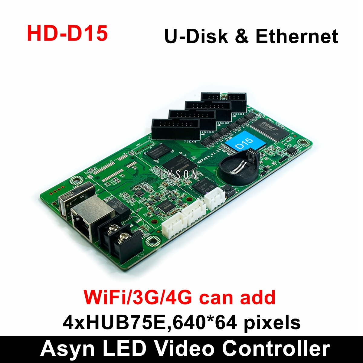 Huidu HD-D15 Asynchronization RGB Led Control Card Support 640*64 320*128pixels Best Medium LED Display Partner