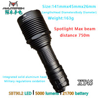 Amutorch XT45 SBT90.2 LED5000LM 750M Long Thrower Portable Hunting Spotlight flashlight 21700 battery,Powerful Tactical Torch