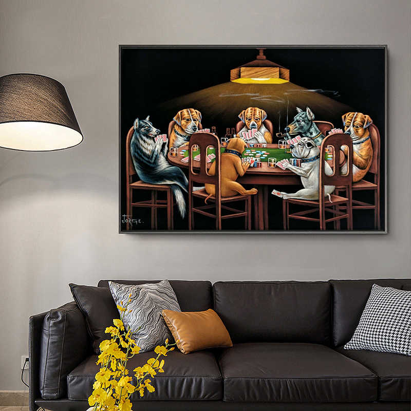 Dogs Playing Poker Artwork Print On Framed Canvas Wall Art Home  Decoration