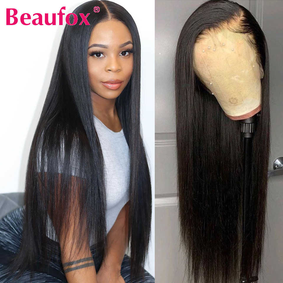 Beaufox Lace Front Human Hair Wigs For Black Women Brazilian Straight Wig With Baby Hairs 150% Density Remy Lace Wig