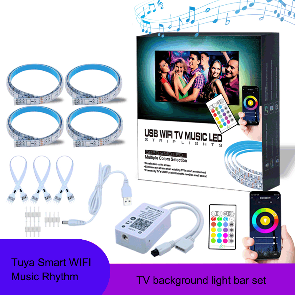 Tuya Smart Wifi Music LED Strip Lights USB TV Backlight Kit With Alexa Google Home 16 Color Changing 5050 LED Bias Lighting 1pc