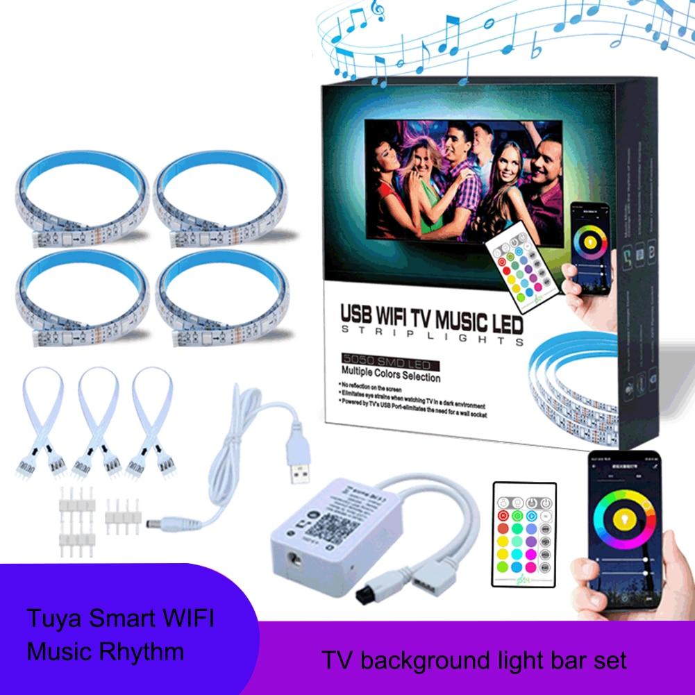 Tuya Smart Wifi Music LED Strip Lights USB TV Backlight Kit With Alexa Google Home 16 Color Changing 5050 LED Bias Lighting 1pc