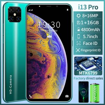 Smartphones i13 pro Android 10.0 Cellphone16GB Cheap phone MTK6799 Discount phone Face ID Full Screen unlock Mobile phones