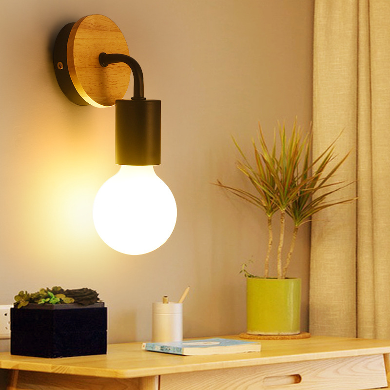E27 110V 220V Wood Wall Lamp Modern Nordic Wooden Sconce For Home Light Fixture Vintage Retro Wall Light Decor Edison Lamp