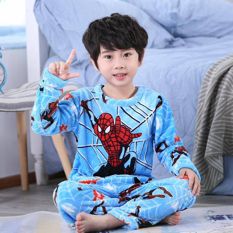 Winter Children Fleece Pajamas Thicken Warm Flannel Sleepwear Girls Loungewear Coral Fleece Kids Pyjamas Boy Long Top+ Pant