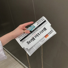 PU Leather Envelope Bag Newspapers Modeling Clutch Bags Fashion Print Design Women Crossbody High Quality Zipper Shoulder Bag недорого