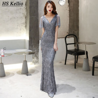 HS Kellio Celebrity Dress Silver Mermaid Vneck Short Sleeve Red Carpet Dresses For Women