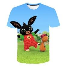 Bing animação dos desenhos animados 3d panda t camisa para meninas/meninos engraçado impresso tshirts coelhos bonitos crianças roupas casuais topos 4-14