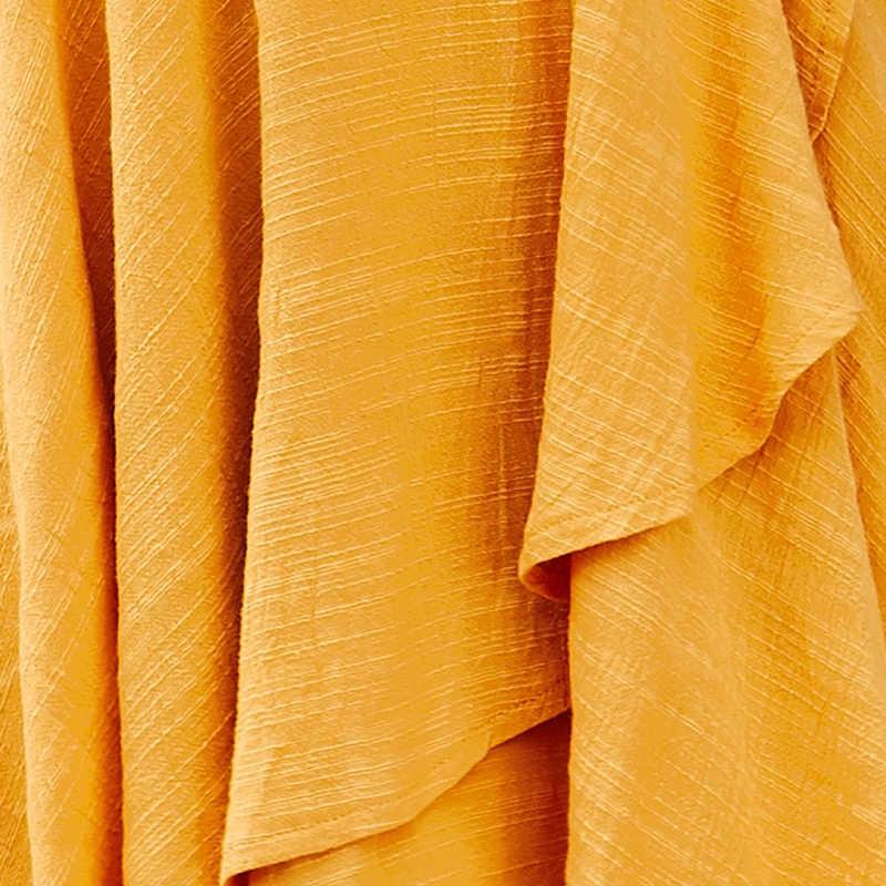 DeRuiLaDy 2019 Новое женское 100% хлопок летнее платье cексуальное желтое мини сарафан платья v-образным вырезом оборками повседневное пляжное платье