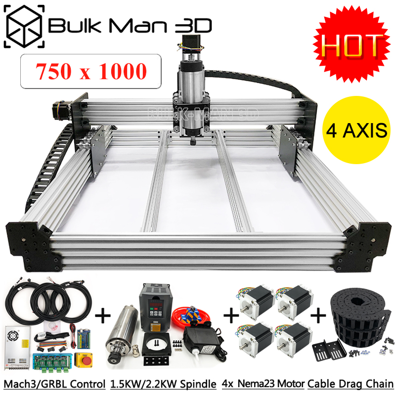 7510 WorkBee CNC Router Machine Full Kit A complete CNC Machine Setup USB Port 4Axis Wood Stone CNC Milling Carving Machine Kit