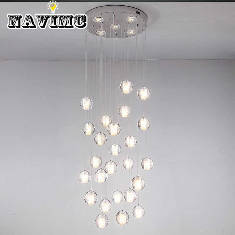 36 Light Crystal Chandelier Modern Clear Sphere Ball Meteor Show Light With Polished Chrome Rectangle Or Round Stainless Steel
