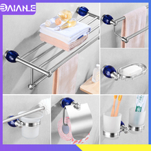 Blue Diamond Bathroom Towel Holder Stainless Steel Towel Rack Hanging Holder Towel Bar Ring Coat Robe Hook Toilet Paper Holder цена 2017