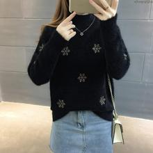 Новинка, высокое качество, Повседневный, мягкий, мохер, снежинки, осень, толстый, модный, вязаный, осень, теплый шерстяной свитер, Женский пуловер, зима