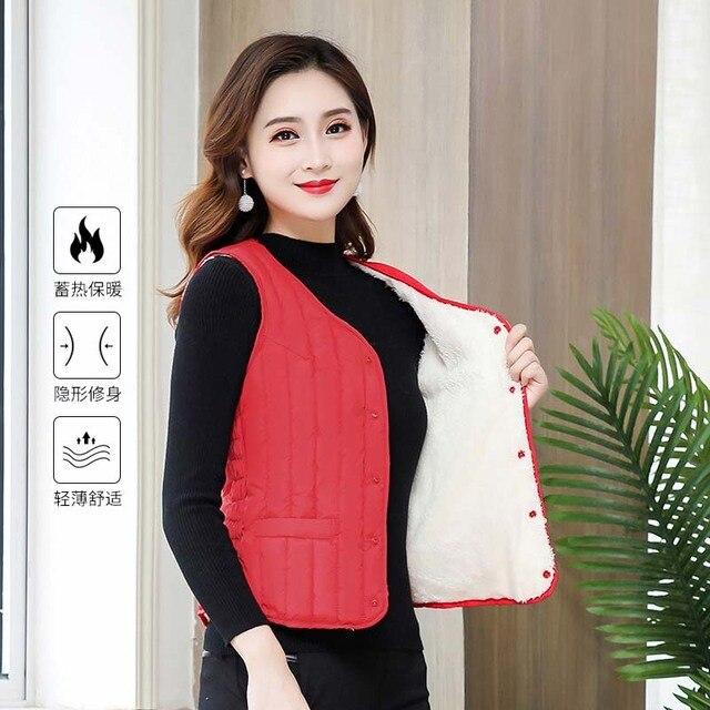 Women Sleeveless Vest Winter Warm Plus Size 4XL Down Cotton Padded Jacket villus Female Veats Slim fit Sleeveless Waistcoat 3