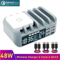48W Multi USB Schnelle Ladegerät QC 3,0 Drahtlose Ladegerät Lcd Mit Uhr für IPhone 8 11 12 Pro Max ladestation Für Samsung Xiaomi