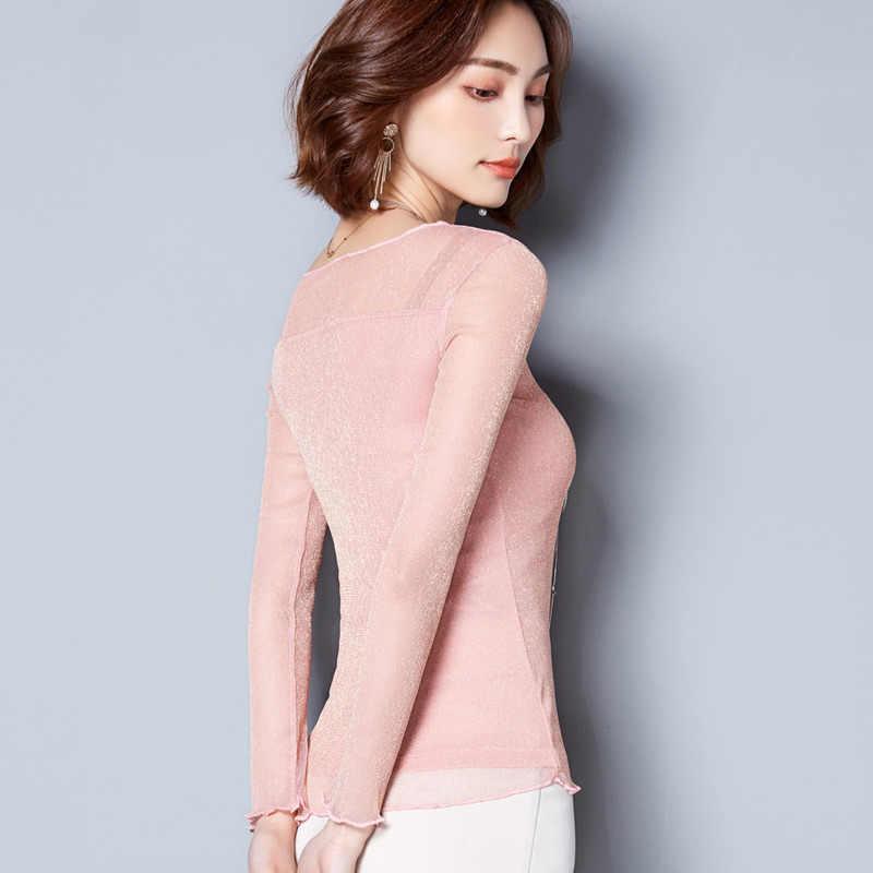 2019 秋の新韓国のファッションメッシュ中空セクシーな黒ピンク固体女性ブラウスとトップ長袖レディーストップスプラスサイズ 3625 50
