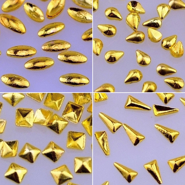 10 Packs Punk 3D Alloy Nail Art Rhinestone Stus Metal Nail Decorations Design Tool Gold Silver Round Square Star