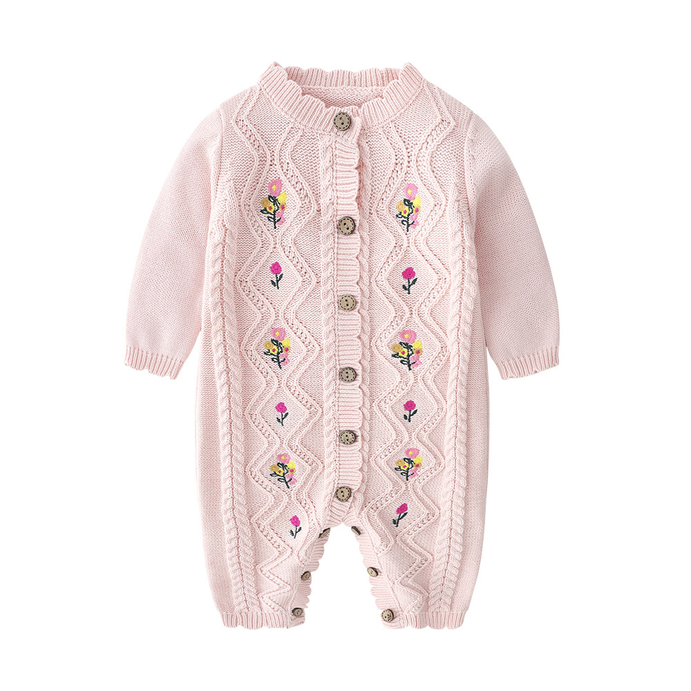 Image 2 - 2019 Spring New Spring And Autumn Outfit Coat Cute Baby Girls Long Sleeve Bodysuit Kids Girls Knitting Costumes For Girls KidsRompers   -