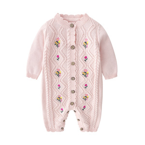 Image 2 - 2019 Spring New Spring And Autumn Outfit Coat Cute Baby Girls Long Sleeve Bodysuit Kids Girls Knitting Costumes For Girls Kids