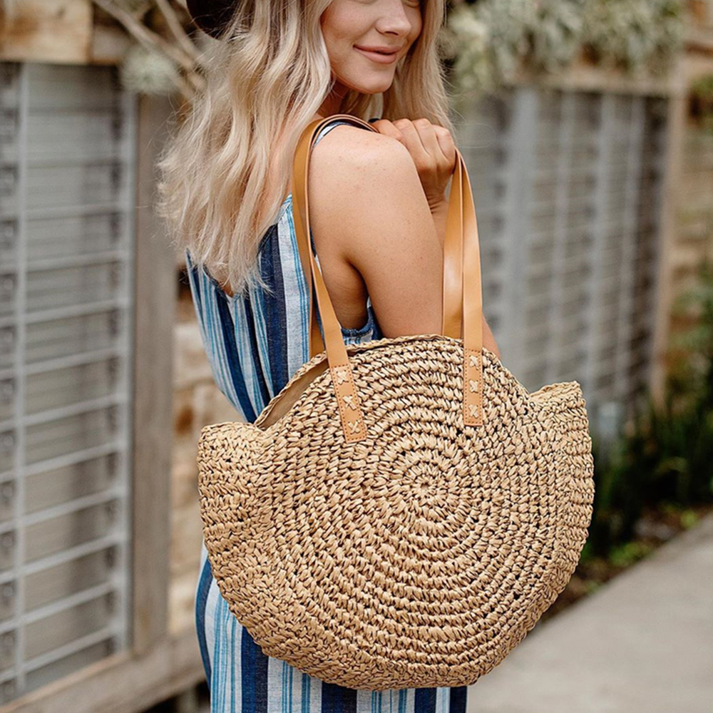 Summer Handbag Tote Straw-Bag Hand-Woven Travel Bohemian Female Beach Paja Bolsos-De-Mimbres
