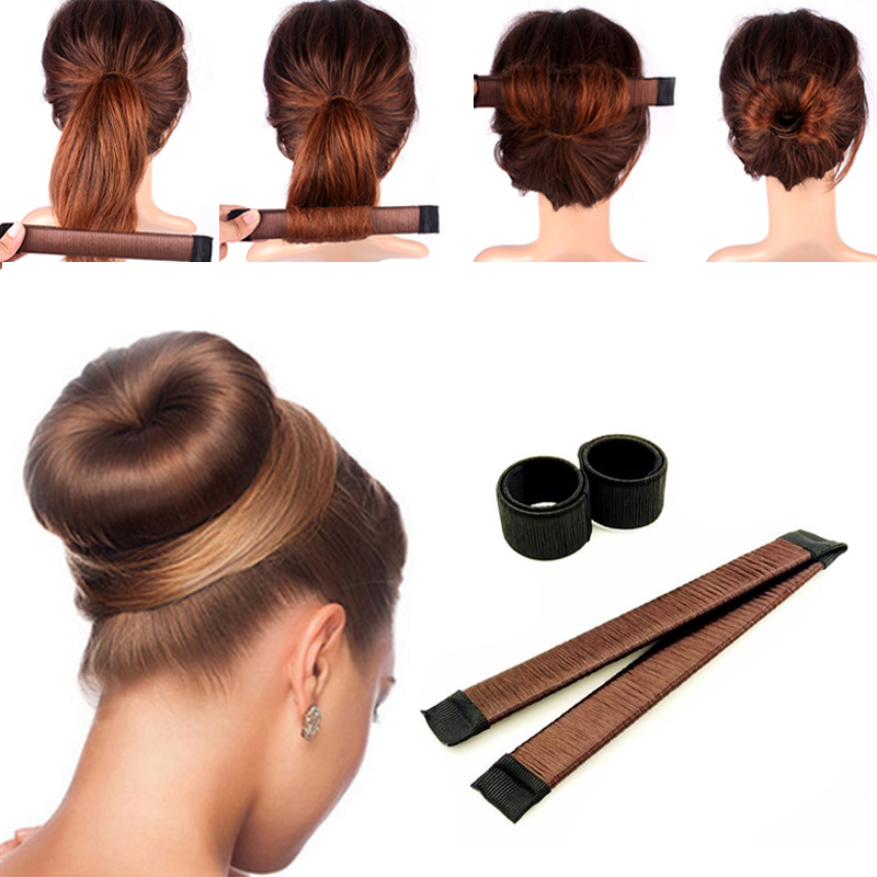 Girl French Dish Synthetic Magic Hair Bun Maker Donut Style Tool Women Child Wig Curler Roller Braider Headband Hair Accessories