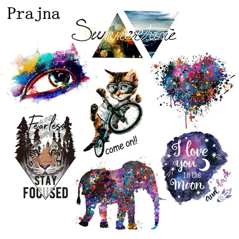 Prajña Kleurrijke Ogen Ijzer Op Transfers Vinyl Warmteoverdracht Tijger Kat Hart Strijken Stickers Op Kleding Diy Patches Voor Kleding