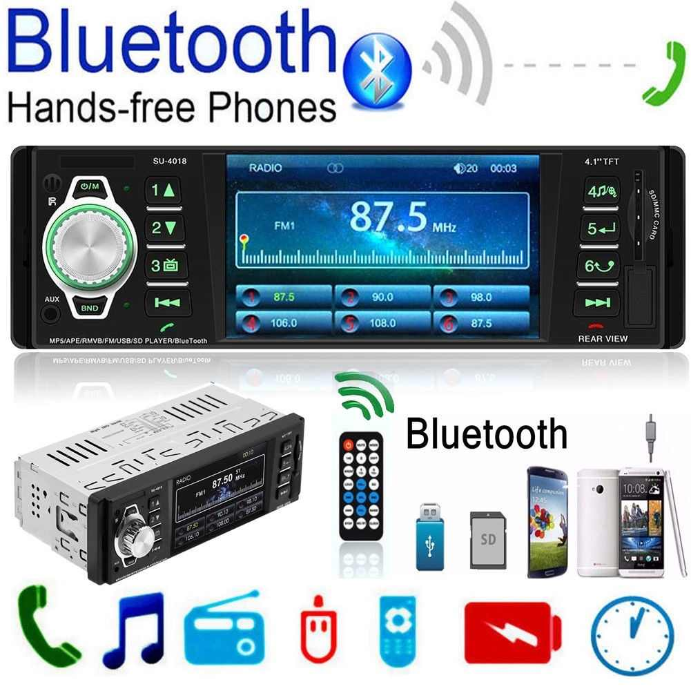 1 Din FM Car Radio 4.1 Inch TFT Screen Bluetooth  Mp5 Player USB / SD  AUX Stereo Autoradio  Cassette  Auto Tapes