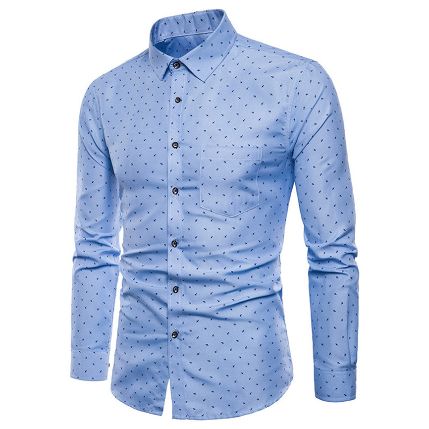 Men T-Shirt Casual Long Sleeve Button Fit Shirts Formal Slim Shirt Tops Blouse