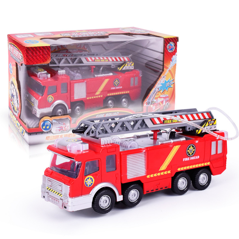 Children Electric Model Fire Truck-Water Spouting Light Voice Educational Engineering Fire Truck Stall Hot Selling Toy