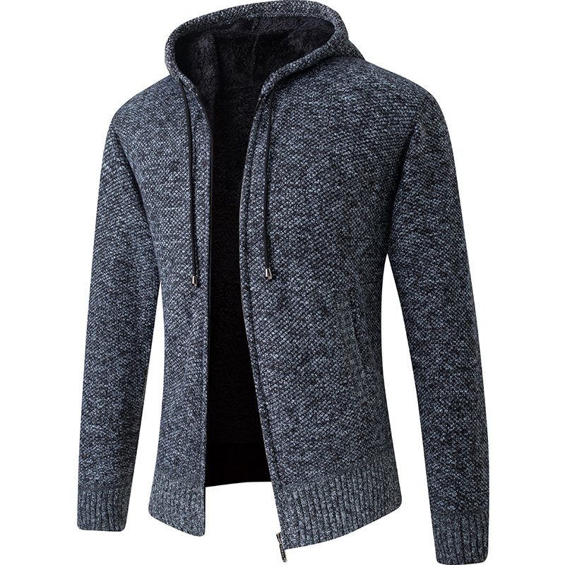 2020 New Cardigan Mens Hooded Collar Fleece Warm Sweaters Coat Men Coat Hoodies Jacket Thick Full  Solid Cardigan Male Coats 1