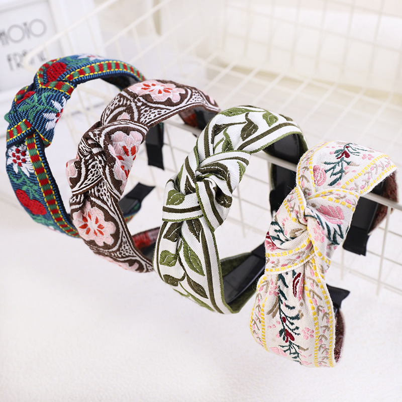 Retro Embroidery Weaving Headband Ethnic Flower Print /Plaid Head Bezel Hairbands For Women Girls Hair Hoop Hair Accessories