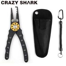 Tubarão louco alicate de pesca de alumínio resistente removedor gancho anel rachado tesoura pesca linha ferramentas corte 210mm para água salgada