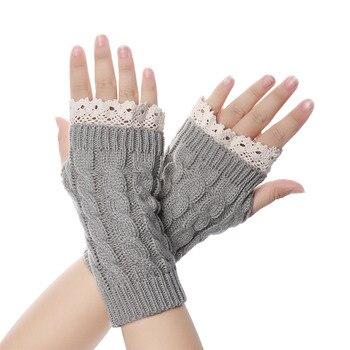 Long Fingerless Knitted Gloves Women Winter Woolen Soft Warm Mittens  Girls Lace Knitting Finger Guantes - discount item  25% OFF Gloves & Mittens