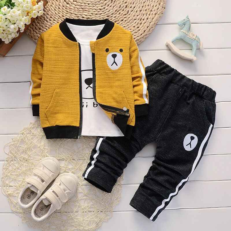 BibiCola boys clothing set spring autumn cotton long sleeve 3pcs coat+shirt+pants children fashion casual sport clothing sets
